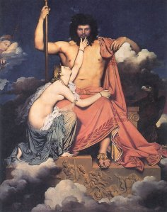 Thetis Imploring Zeus, painting by Ingres